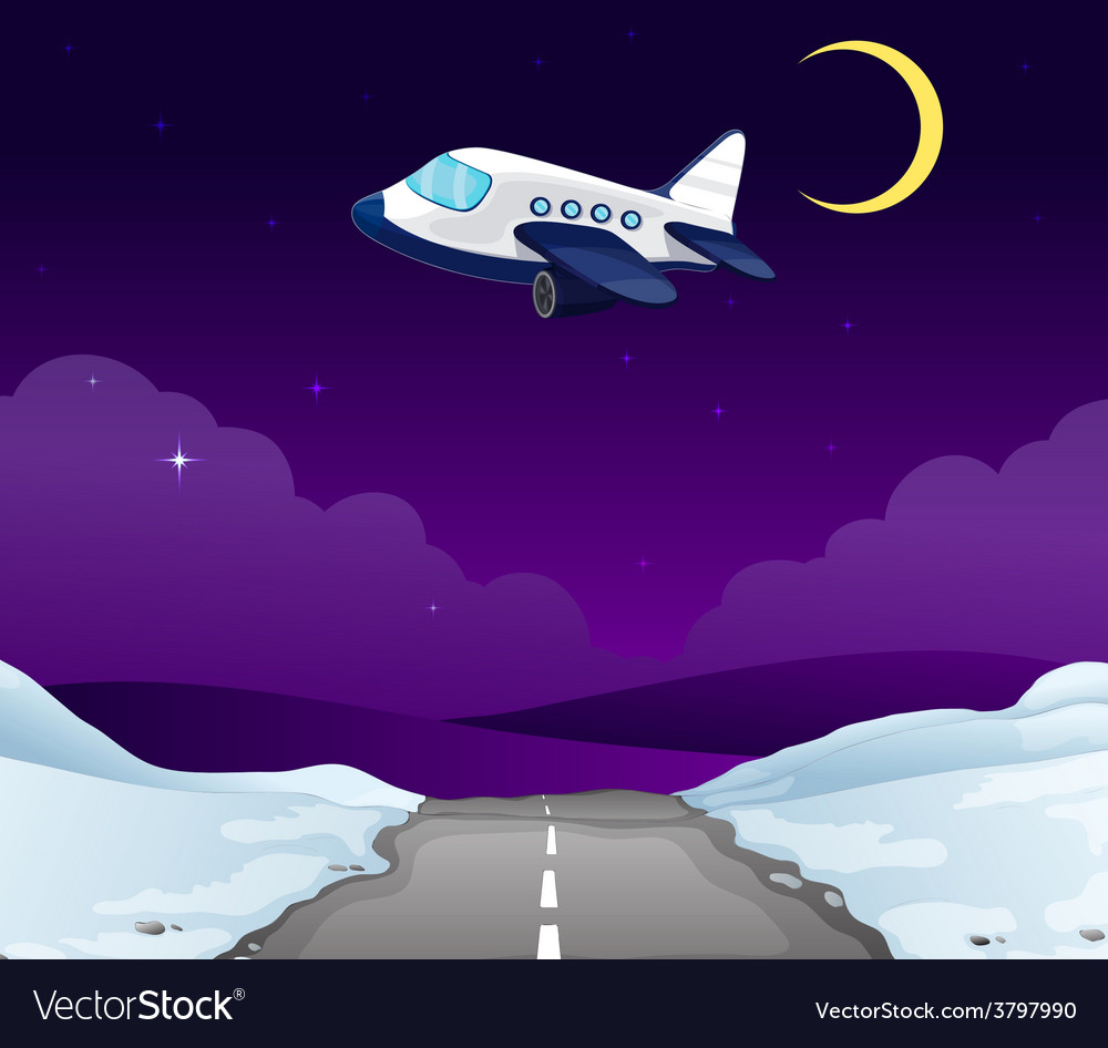 A plane above the road vector | Price: 1 Credit (USD $1)