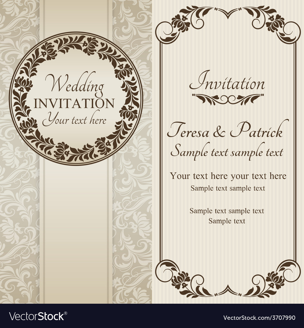 Baroque wedding invitation brown and beige vector | Price: 1 Credit (USD $1)