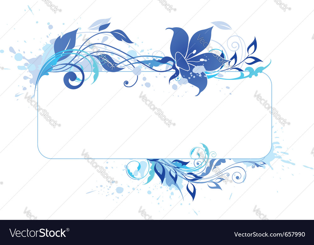 Blue banner with floral ornament and blots vector | Price: 1 Credit (USD $1)
