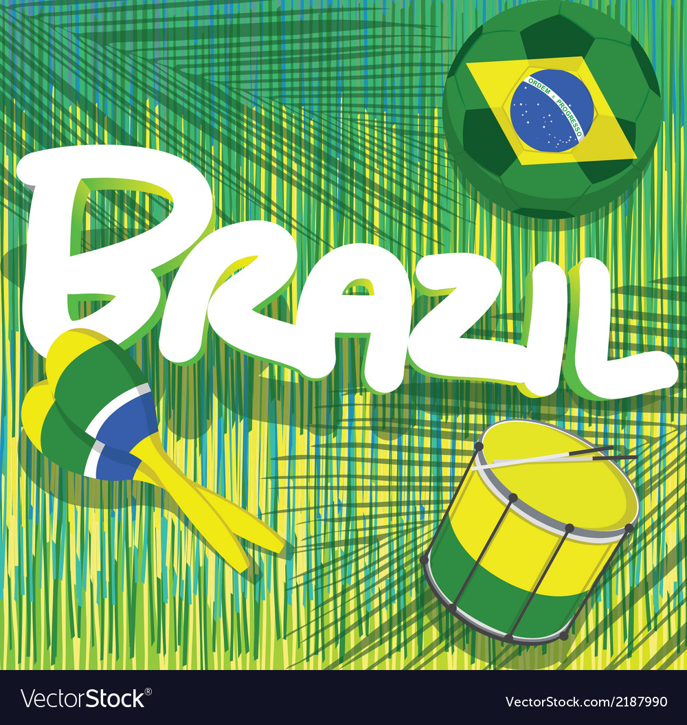 Brazil soccer with tropical background vector | Price: 1 Credit (USD $1)