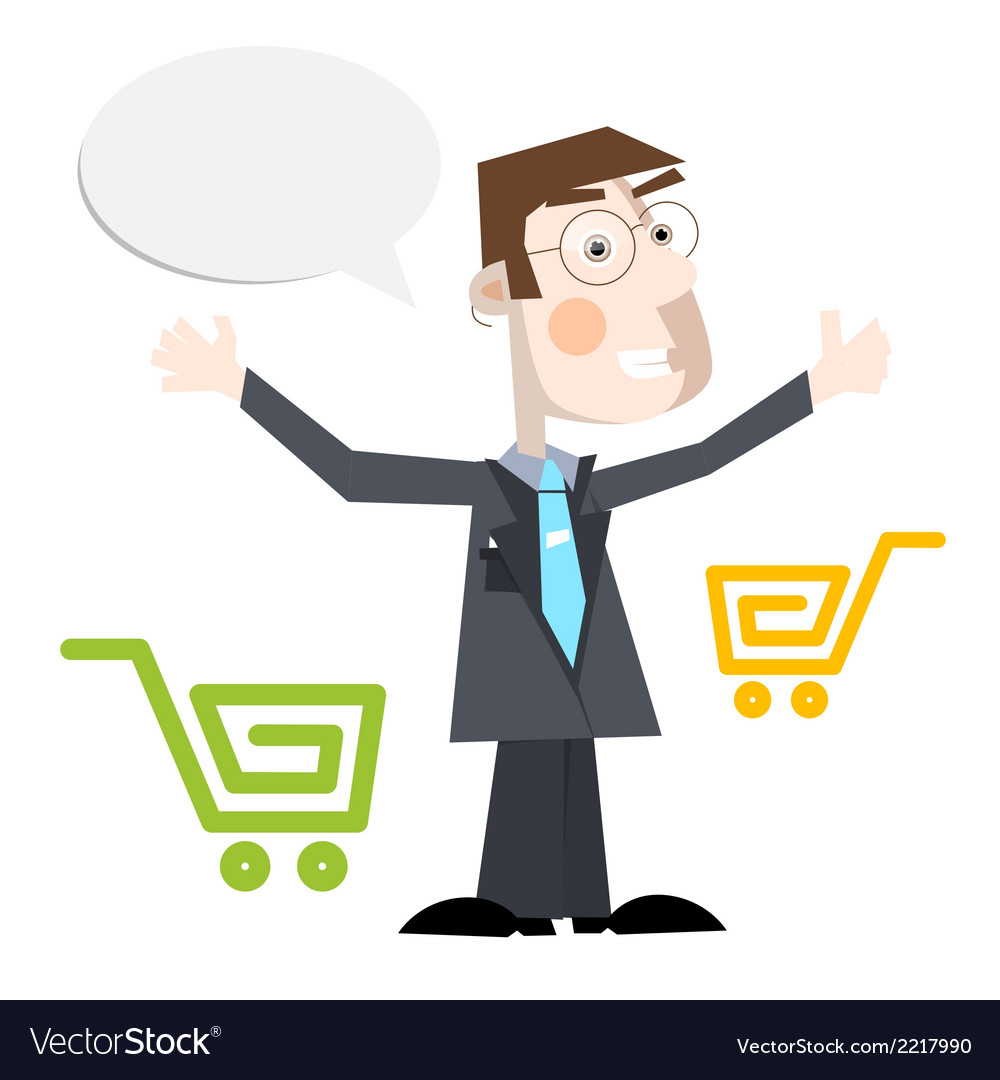 Business man with shopping carts and empty s vector | Price: 1 Credit (USD $1)