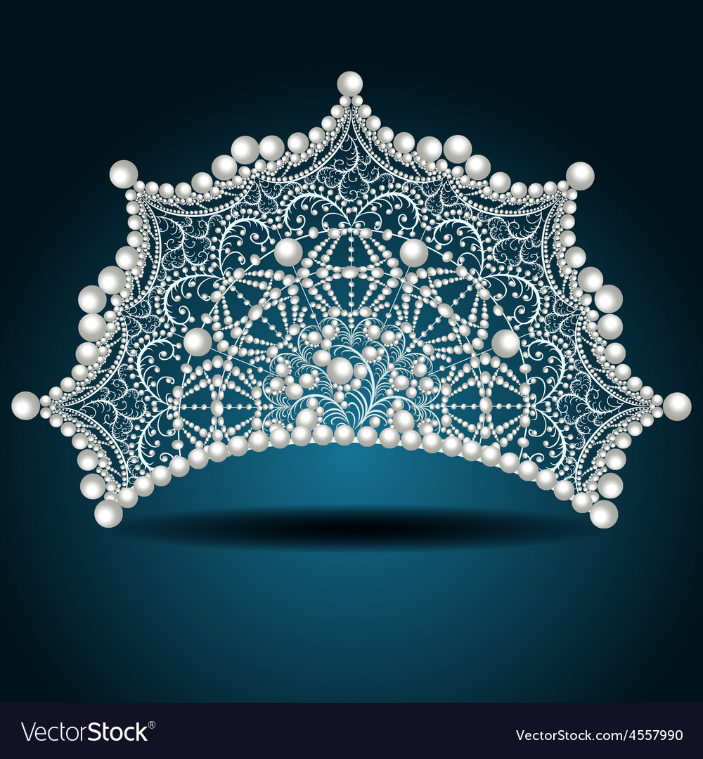 Crown tiara with pearl white female vector | Price: 1 Credit (USD $1)