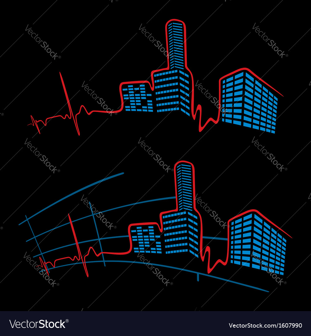 Ekg of city vector | Price: 1 Credit (USD $1)