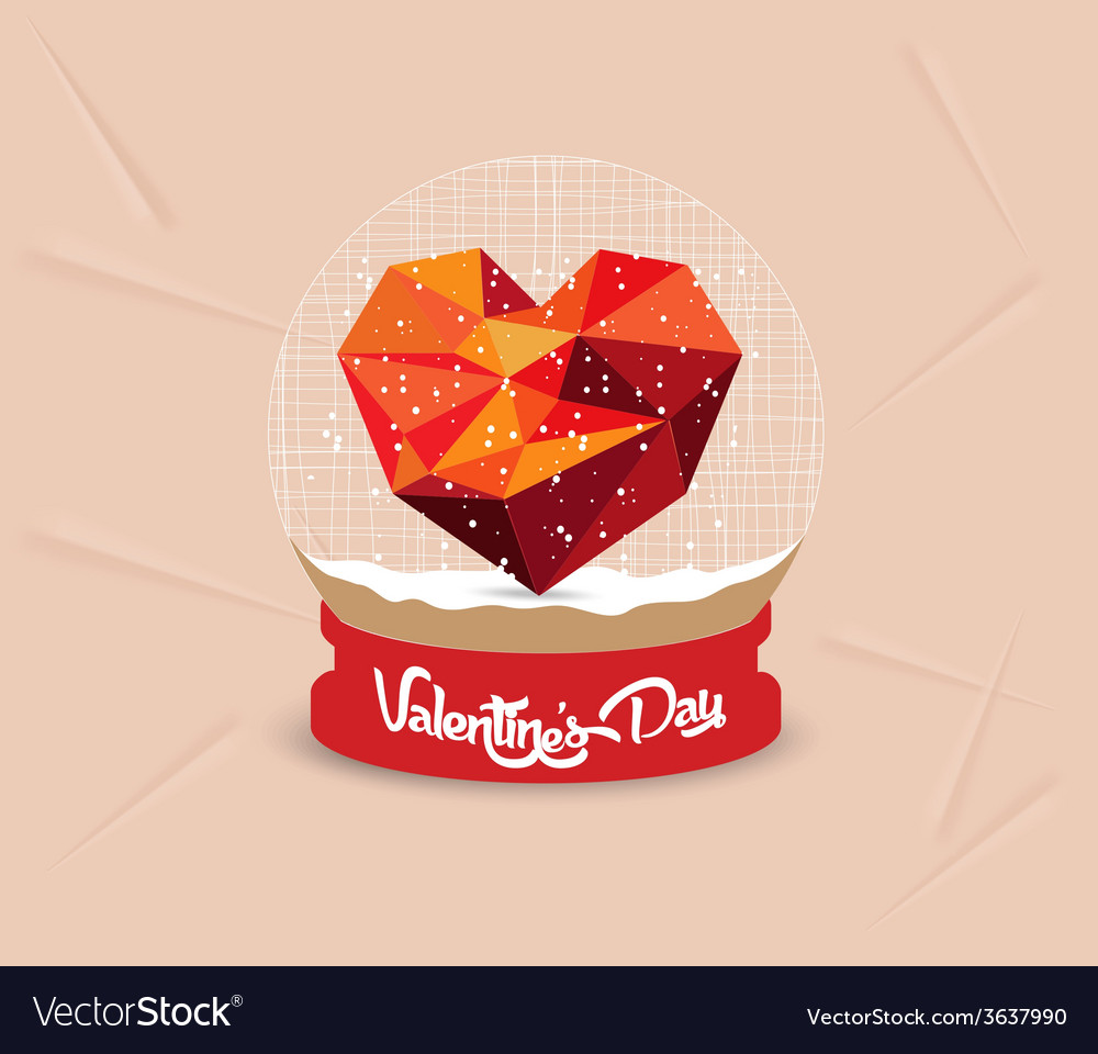 Happy valentines day with geometrical heart globe vector   Price: 1 Credit (USD $1)