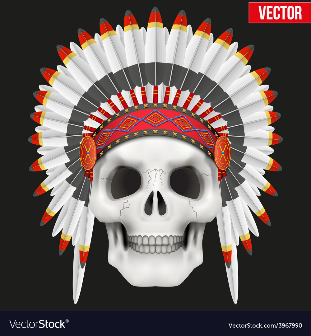 Human skull with indian chief hat vector | Price: 1 Credit (USD $1)