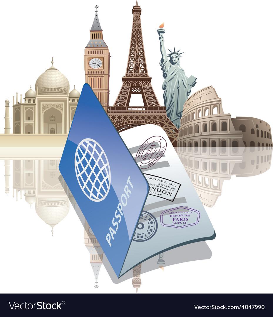 Passport and landmarks vector | Price: 5 Credit (USD $5)