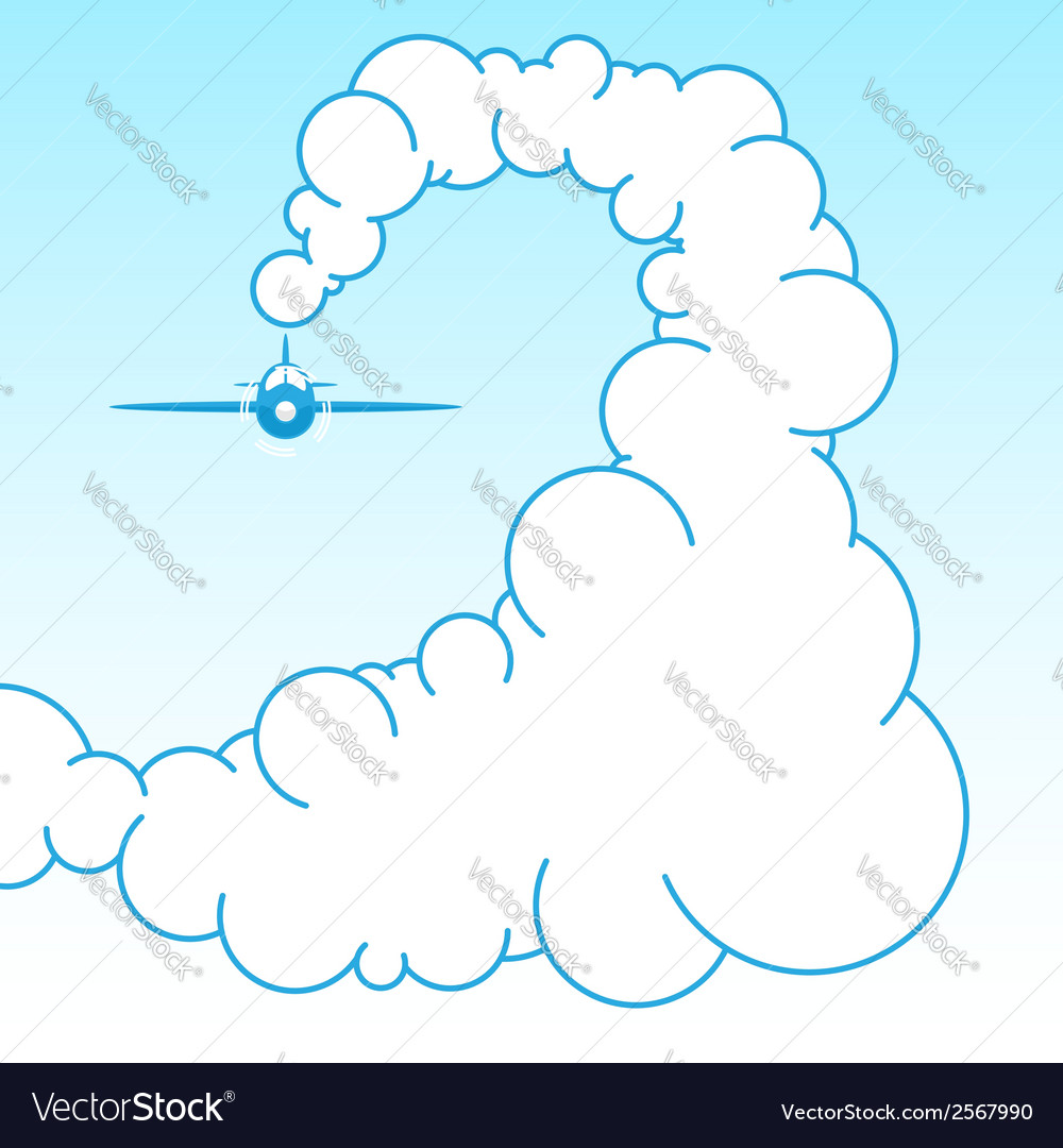 Plane in the sky in the clouds vector | Price: 1 Credit (USD $1)