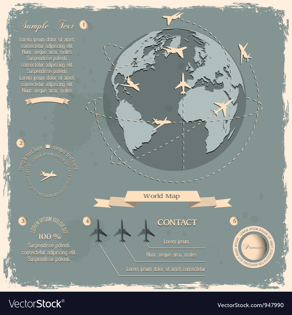 Retro style design with aircrafts and globe vector | Price: 1 Credit (USD $1)