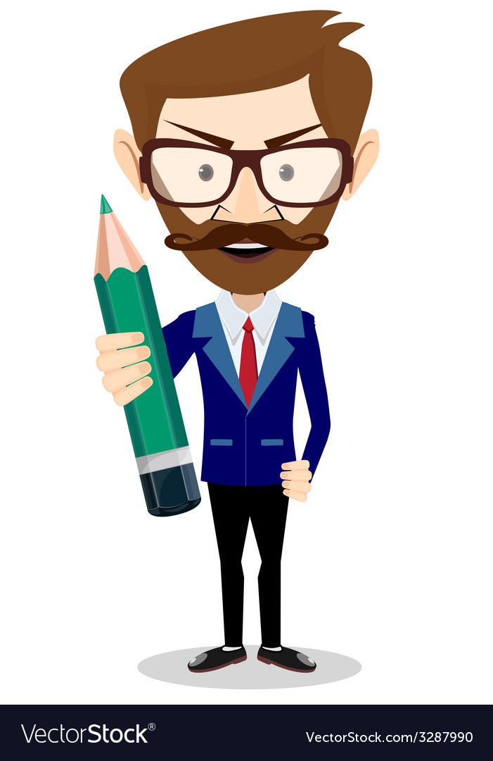 Smiling cartoon businessman hipster in jacket with vector | Price: 1 Credit (USD $1)