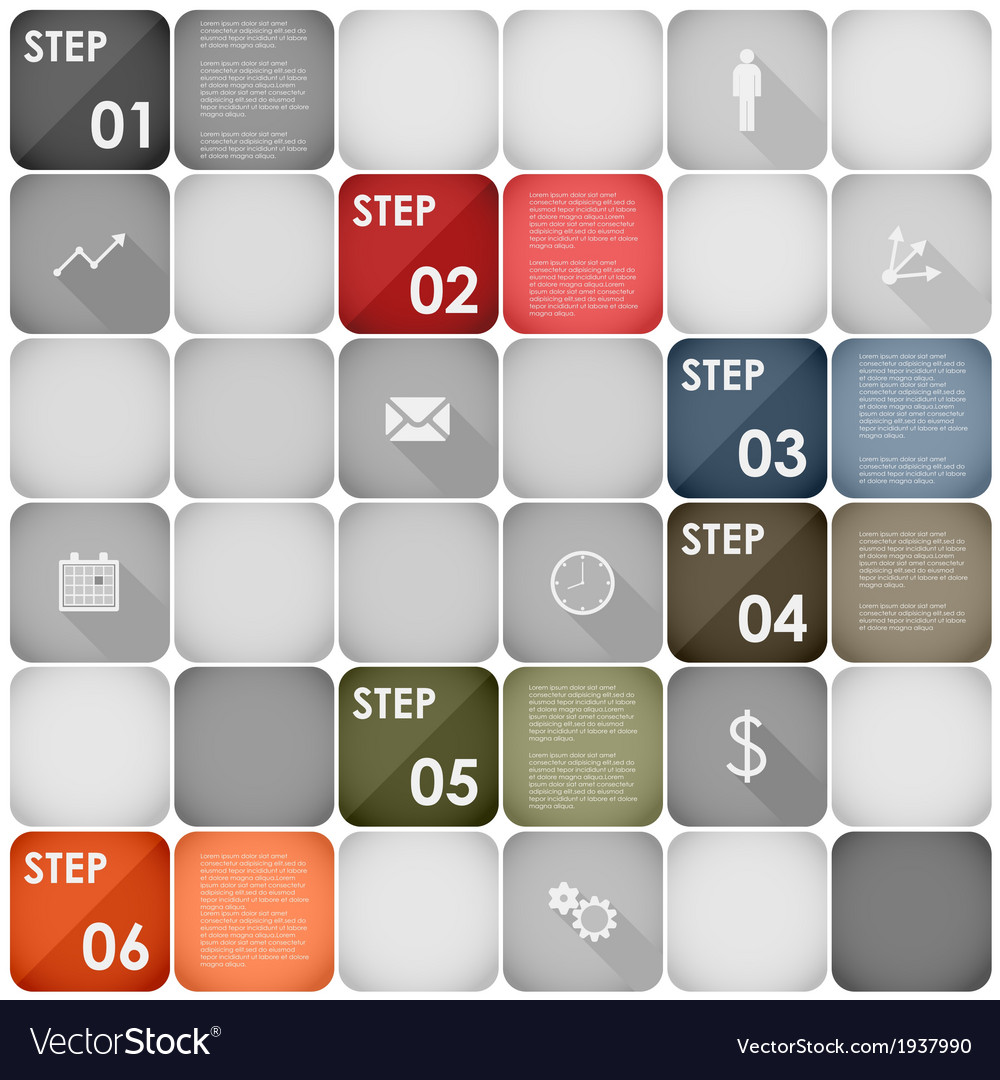 Squares design element steps template vector | Price: 1 Credit (USD $1)