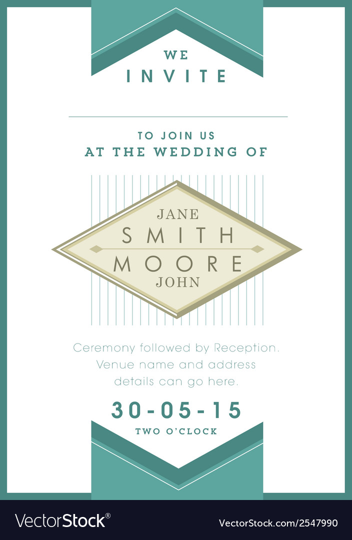 Wedding invitation green ribbon theme vector | Price: 1 Credit (USD $1)