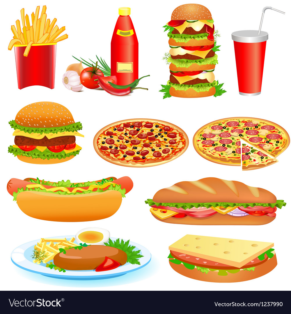With a set of fast food and ketchup pitsey vector | Price: 3 Credit (USD $3)