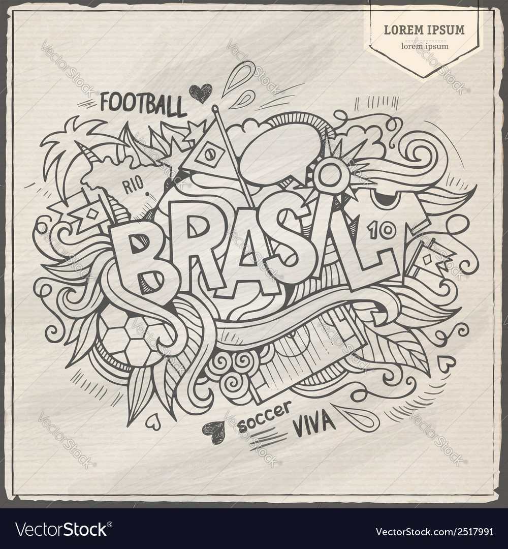 Brazil summer 2014 and doodles elements vector | Price: 1 Credit (USD $1)