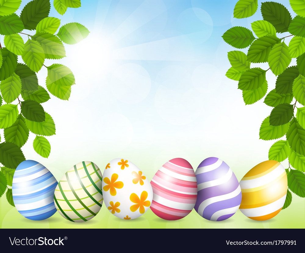 Card by easter with beautiful eggs vector | Price: 1 Credit (USD $1)