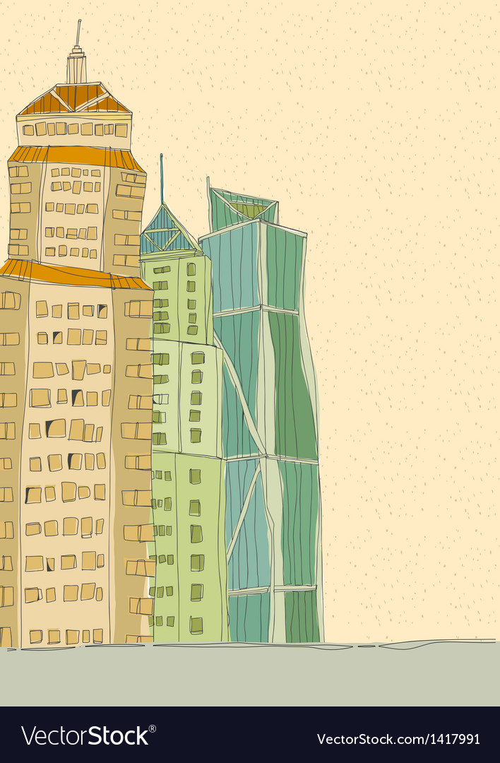 City towers drawing vector | Price: 1 Credit (USD $1)