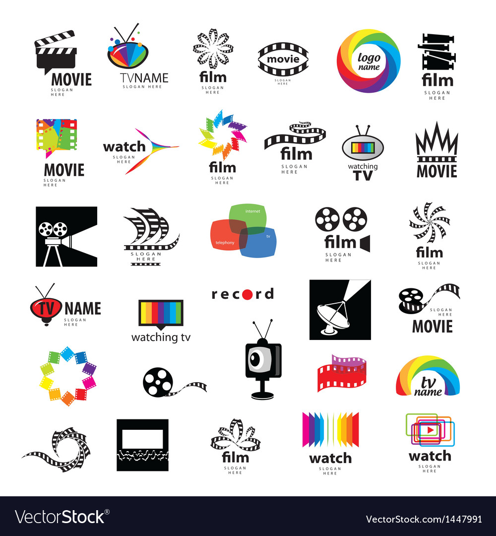 Collection of logos tv video photo film vector
