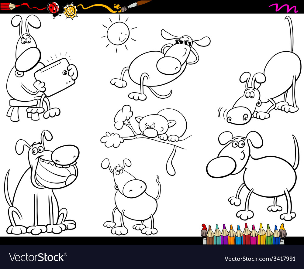 Dogs set cartoon coloring page vector | Price: 1 Credit (USD $1)