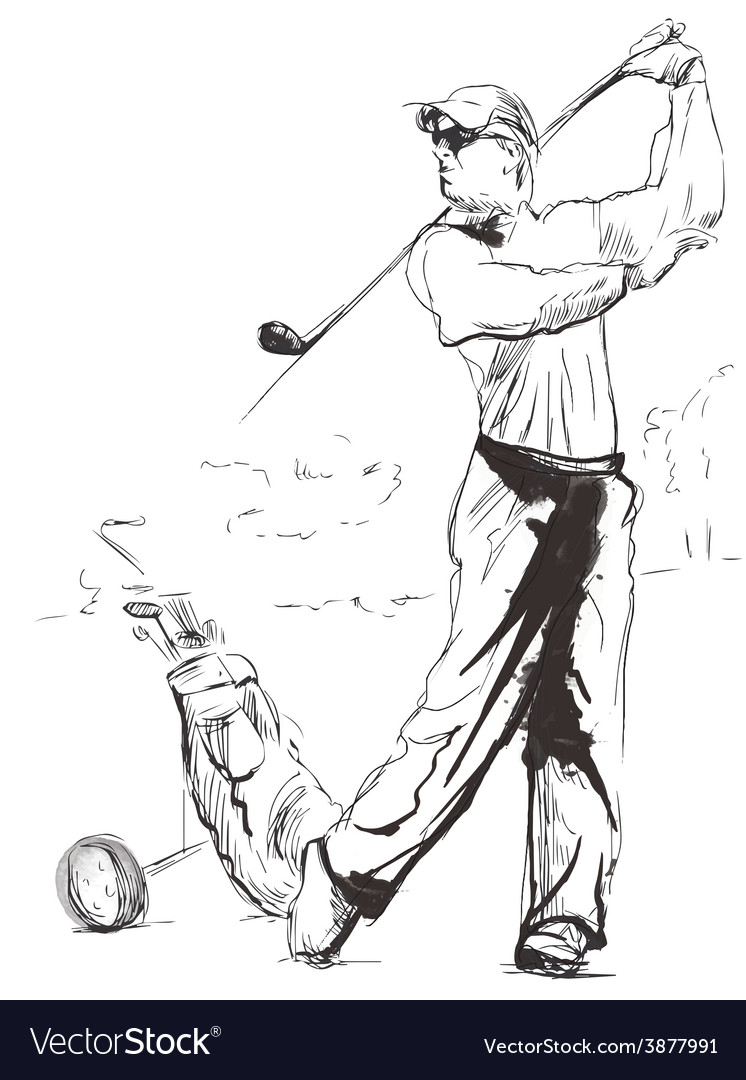 Golfer  hand drawn converted into vector