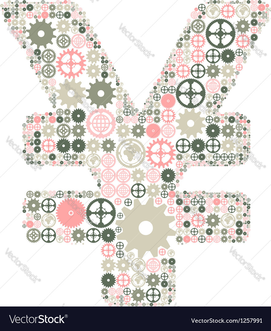 Japanese yen sign made of colored gears vector | Price: 1 Credit (USD $1)