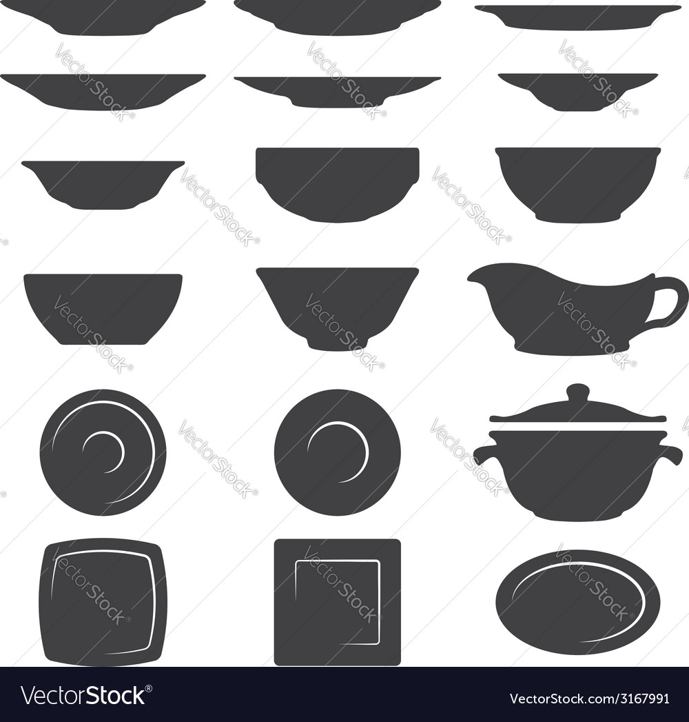 Plates and dishes silhouette set vector | Price: 1 Credit (USD $1)