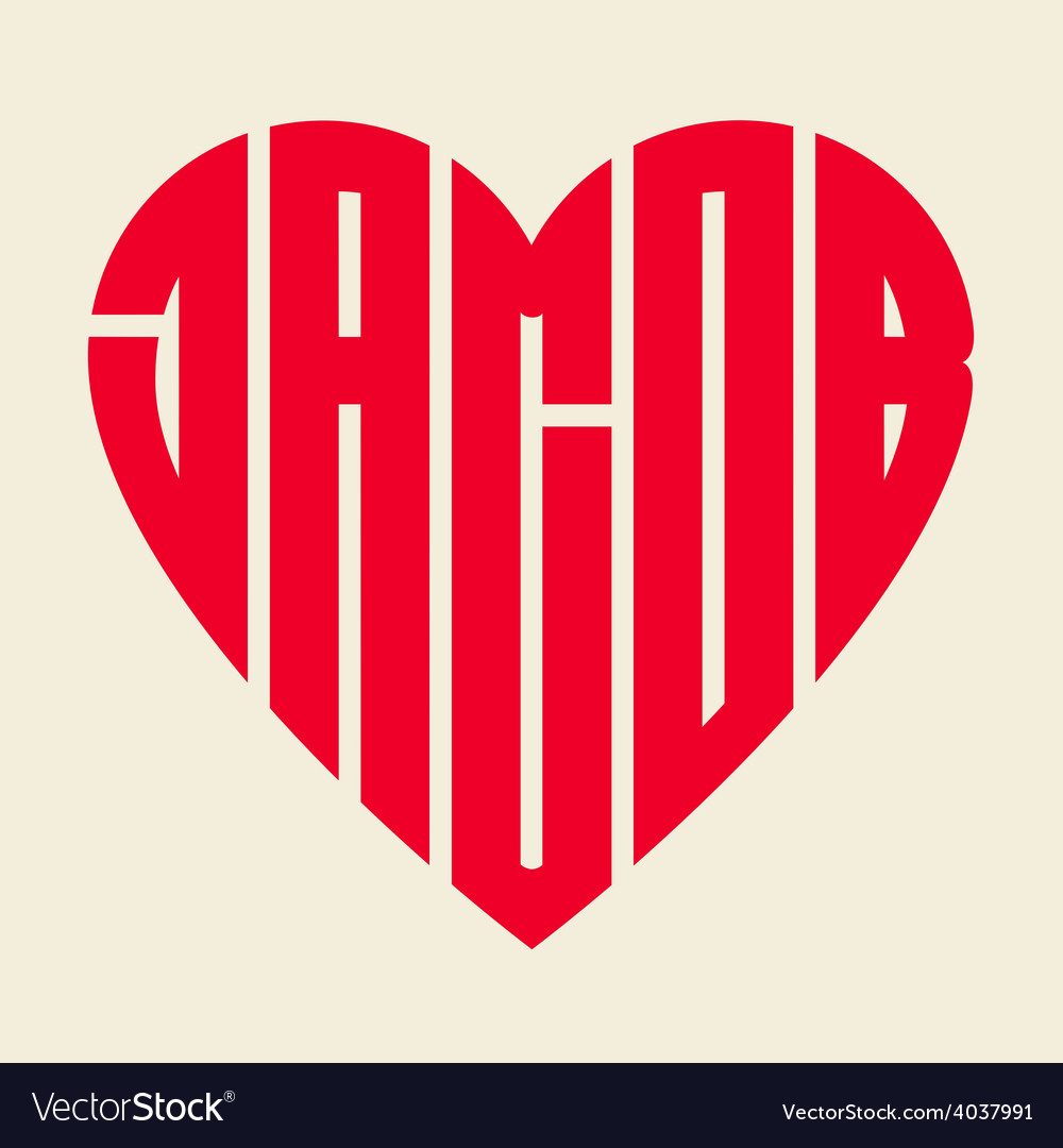 Popular male name jacob with heart vector | Price: 1 Credit (USD $1)