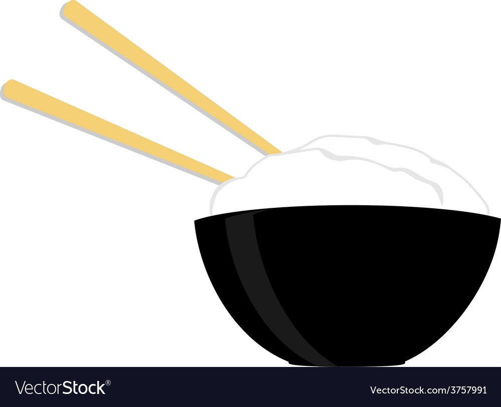 Rice bowl with two chopsticks vector | Price: 1 Credit (USD $1)
