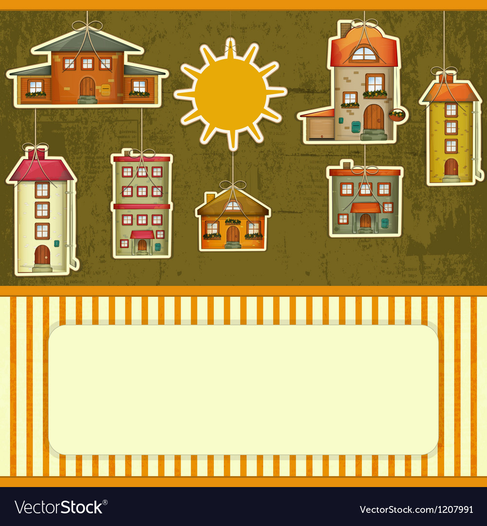 Set of houses retro card vector | Price: 3 Credit (USD $3)