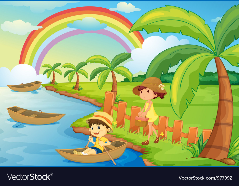 A boy and girl are boating vector | Price: 3 Credit (USD $3)