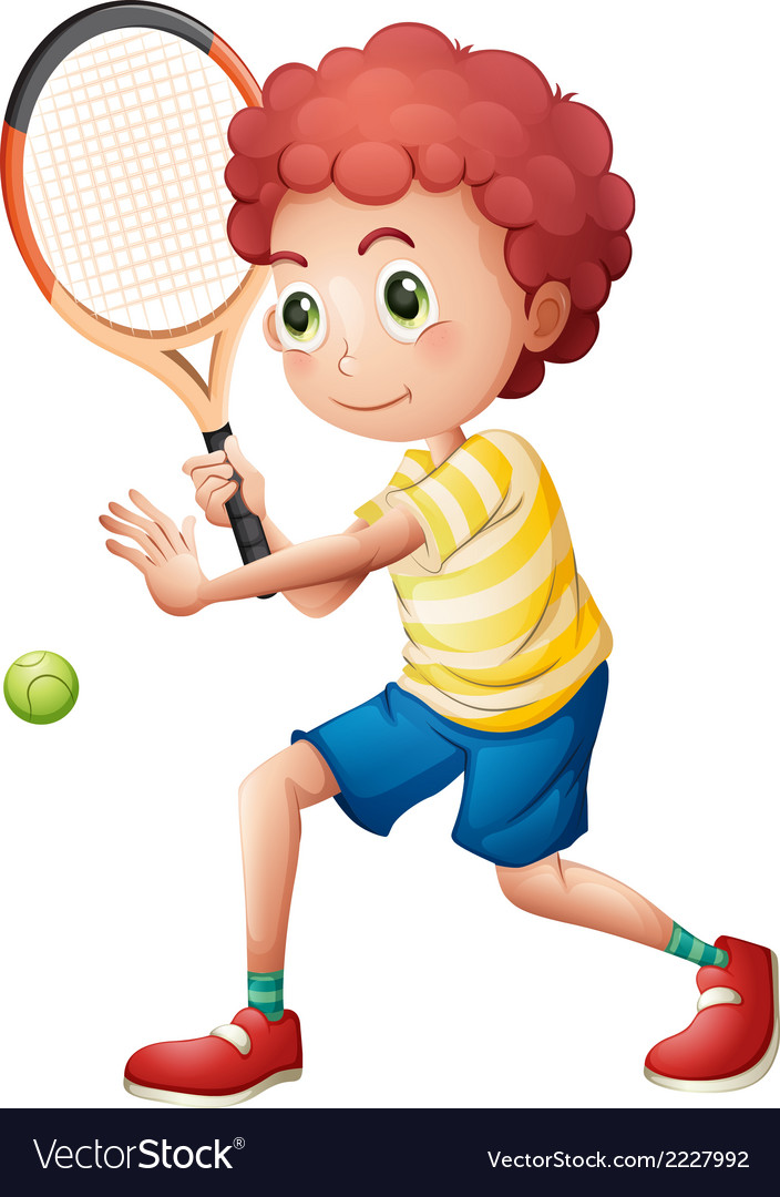 A young tennis player vector | Price: 1 Credit (USD $1)