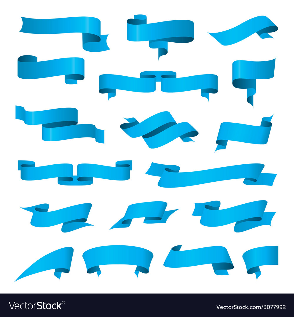Biggest collection of blue ribbons vector | Price: 1 Credit (USD $1)