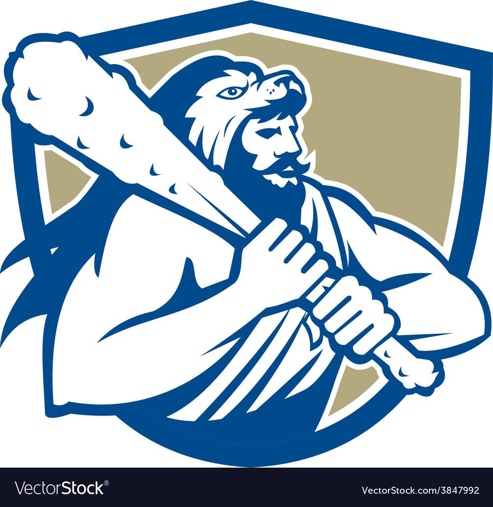 Hercules lion skin wield club shield retro vector | Price: 1 Credit (USD $1)
