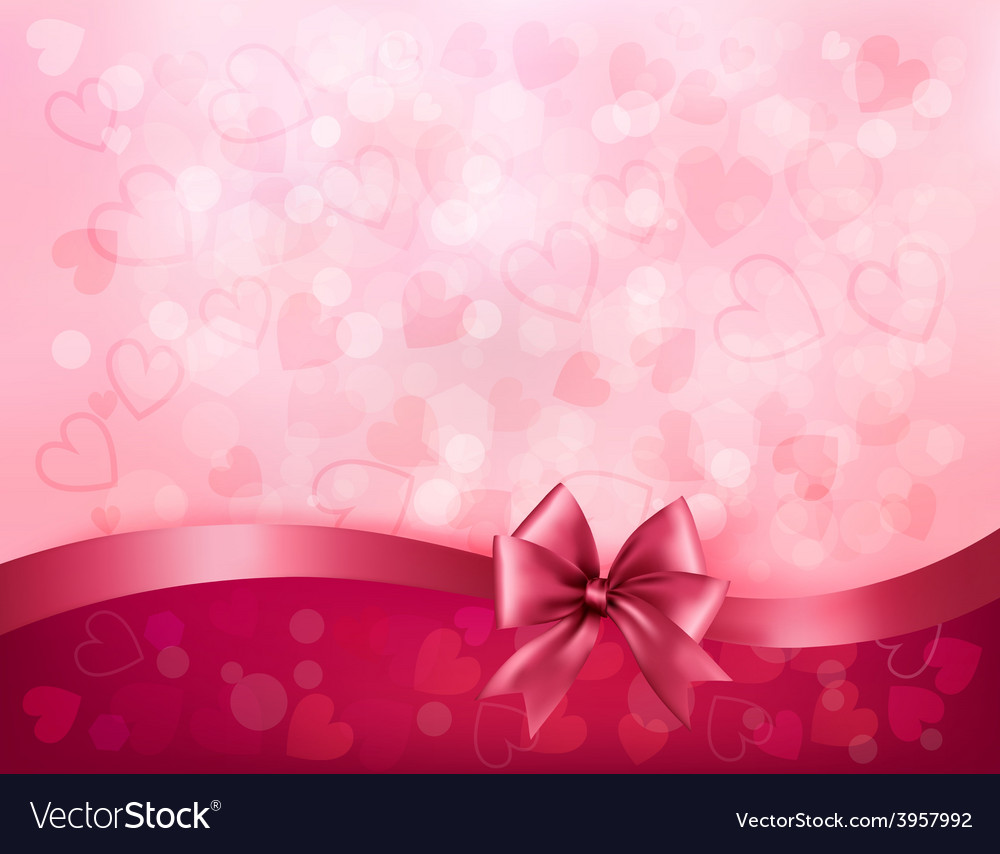 Holiday background with gift pink bow and ribbon vector | Price: 3 Credit (USD $3)