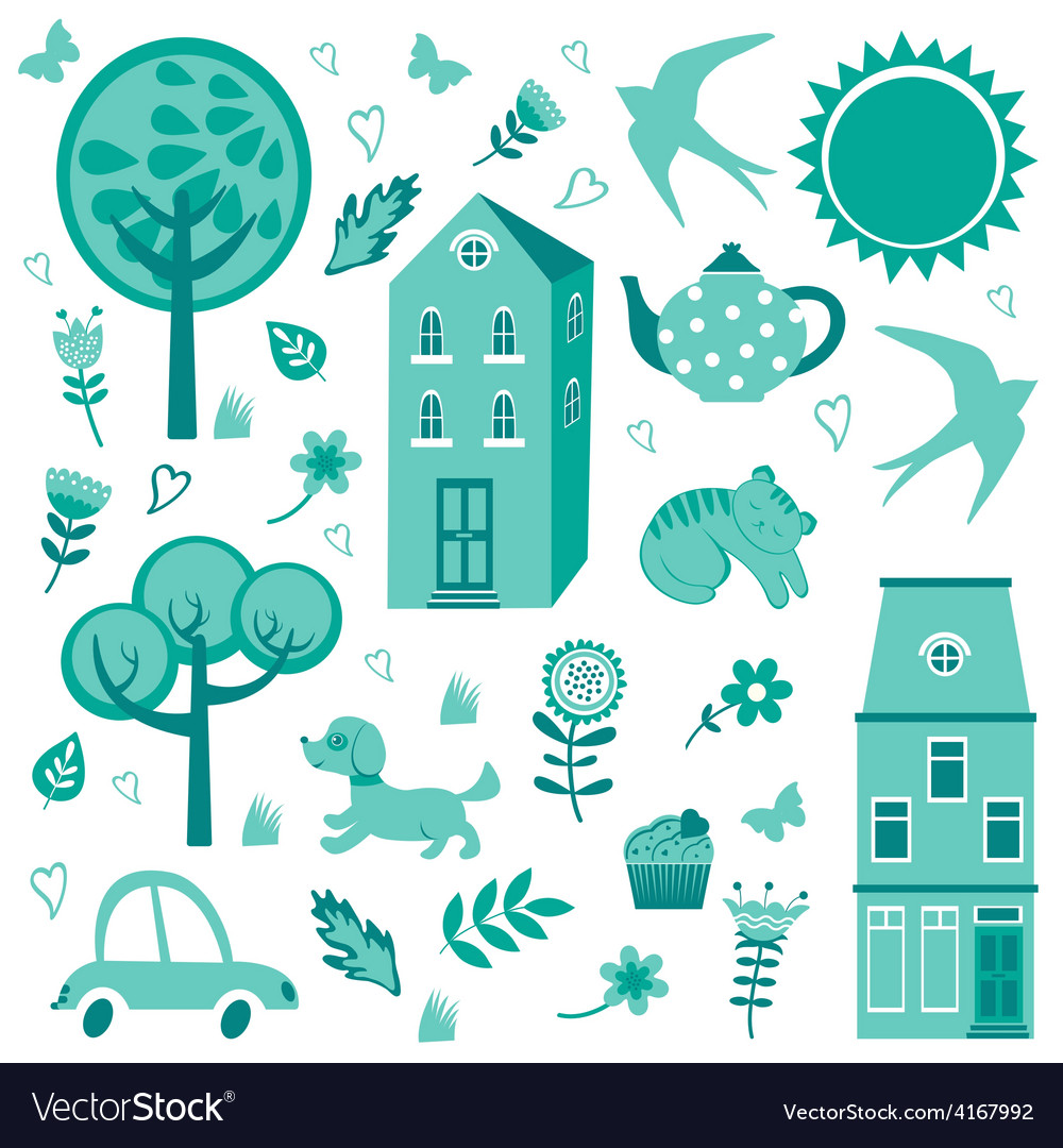 Home sweet home monochrome set vector   Price: 1 Credit (USD $1)