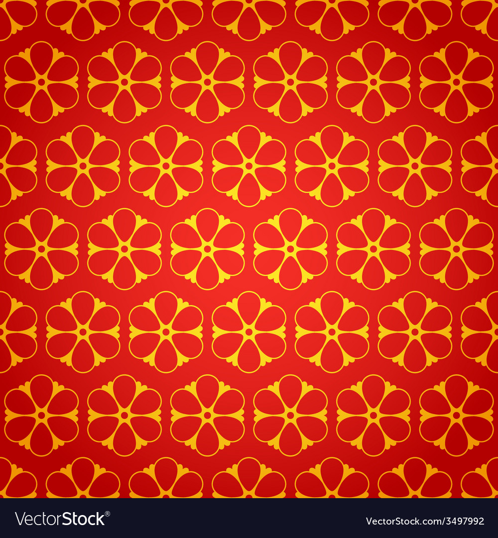 National chinese seamless pattern with flowers vector | Price: 1 Credit (USD $1)