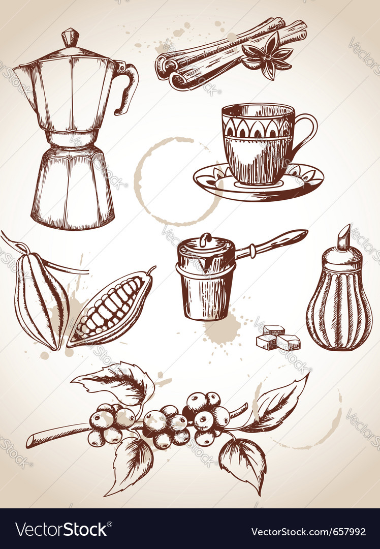 Set of vintage coffee and cocoa icons vector | Price: 1 Credit (USD $1)