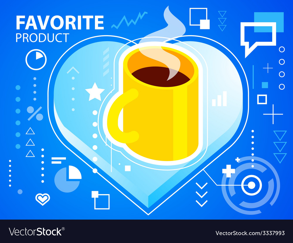 Bright heart and coffee on blue background f vector | Price: 3 Credit (USD $3)