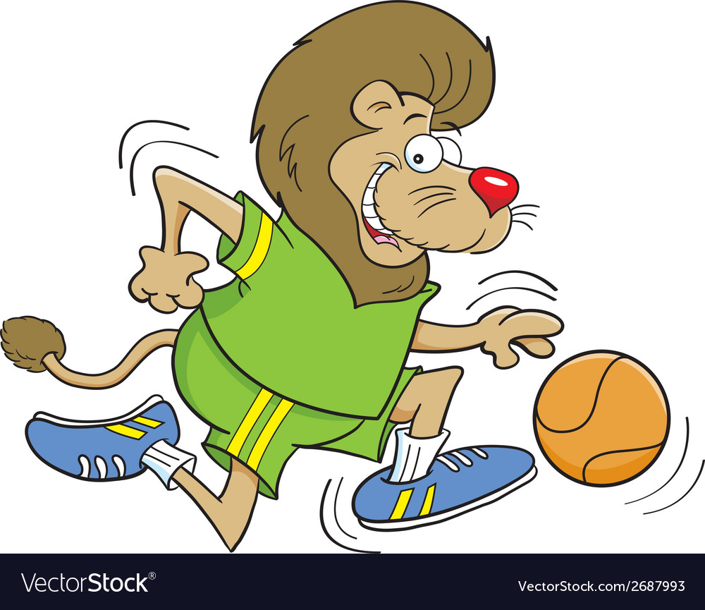 Cartoon basketball lion vector | Price: 1 Credit (USD $1)