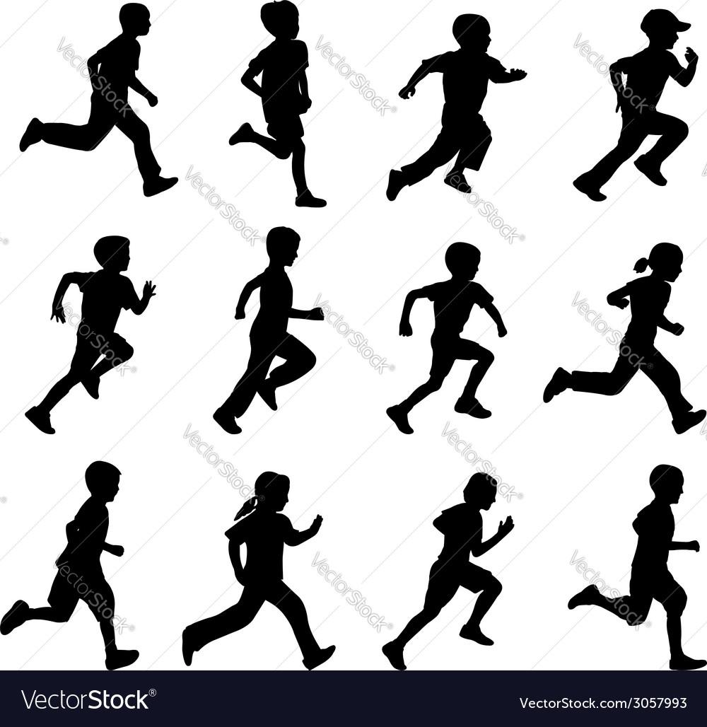 Children running vector | Price: 1 Credit (USD $1)