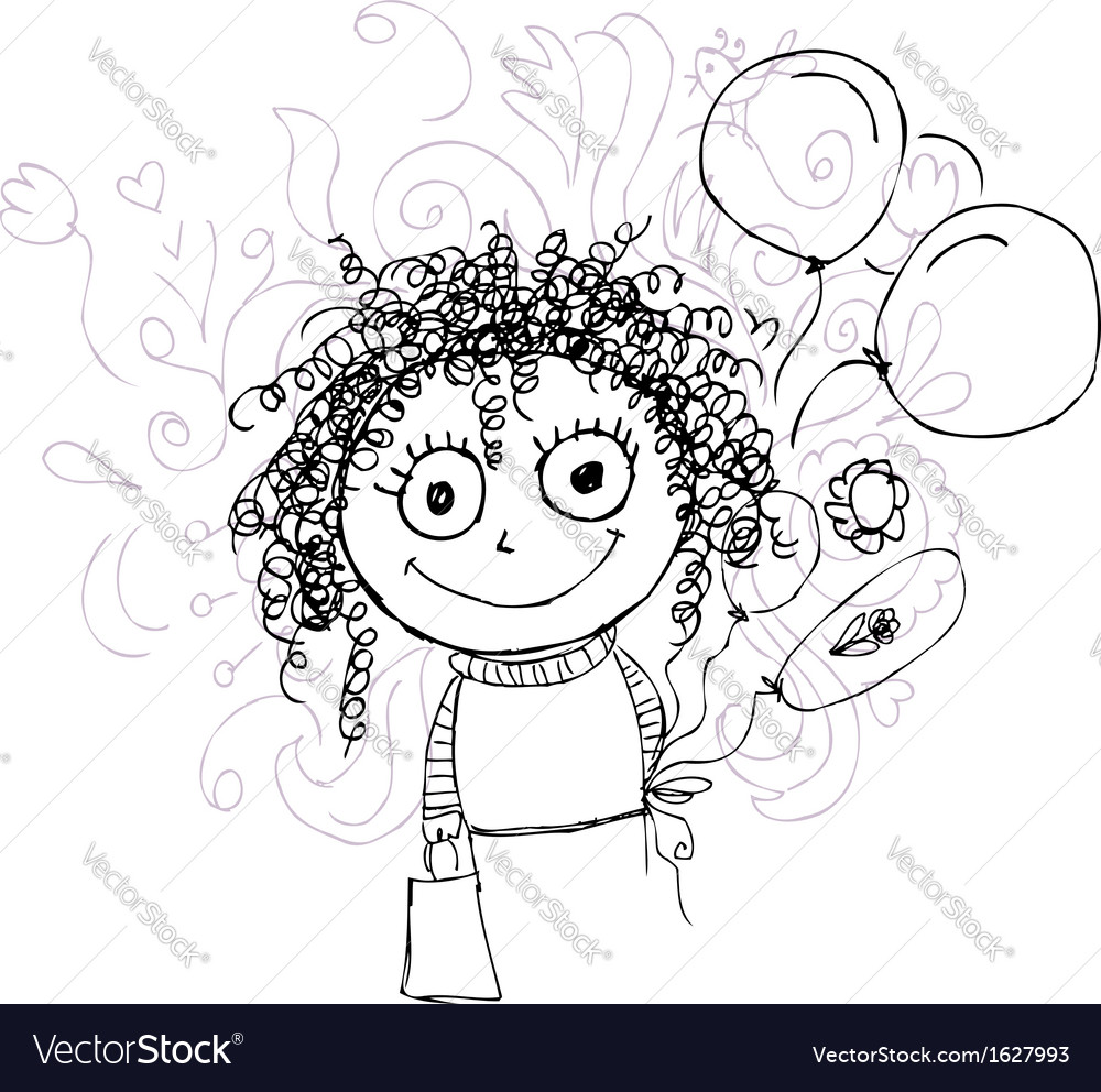 Curly girl sketch with balloons for your design vector | Price: 1 Credit (USD $1)