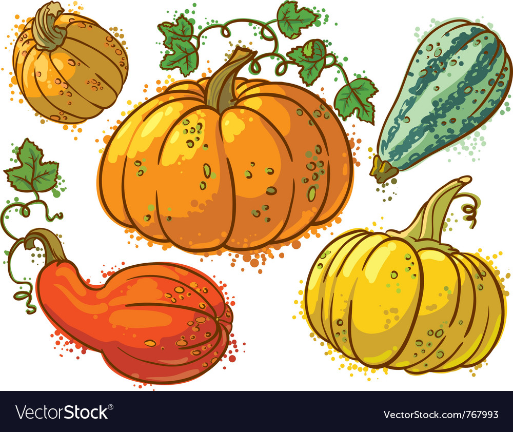 Cute colourful pumkins set vector | Price: 1 Credit (USD $1)