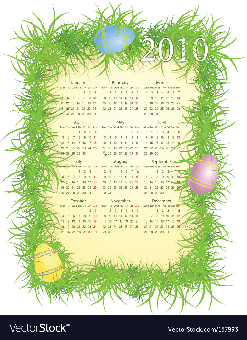 Easter calendar 2010 vector | Price: 1 Credit (USD $1)