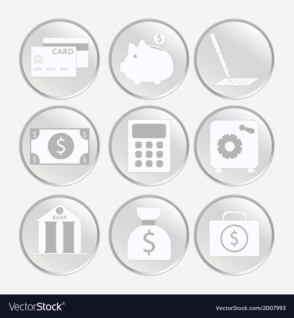 Financial analytical icons with graphs vector | Price: 1 Credit (USD $1)