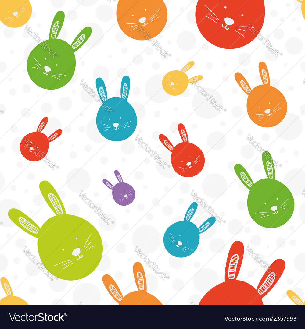 Funny bunny seamless colorful pattern vector | Price: 1 Credit (USD $1)