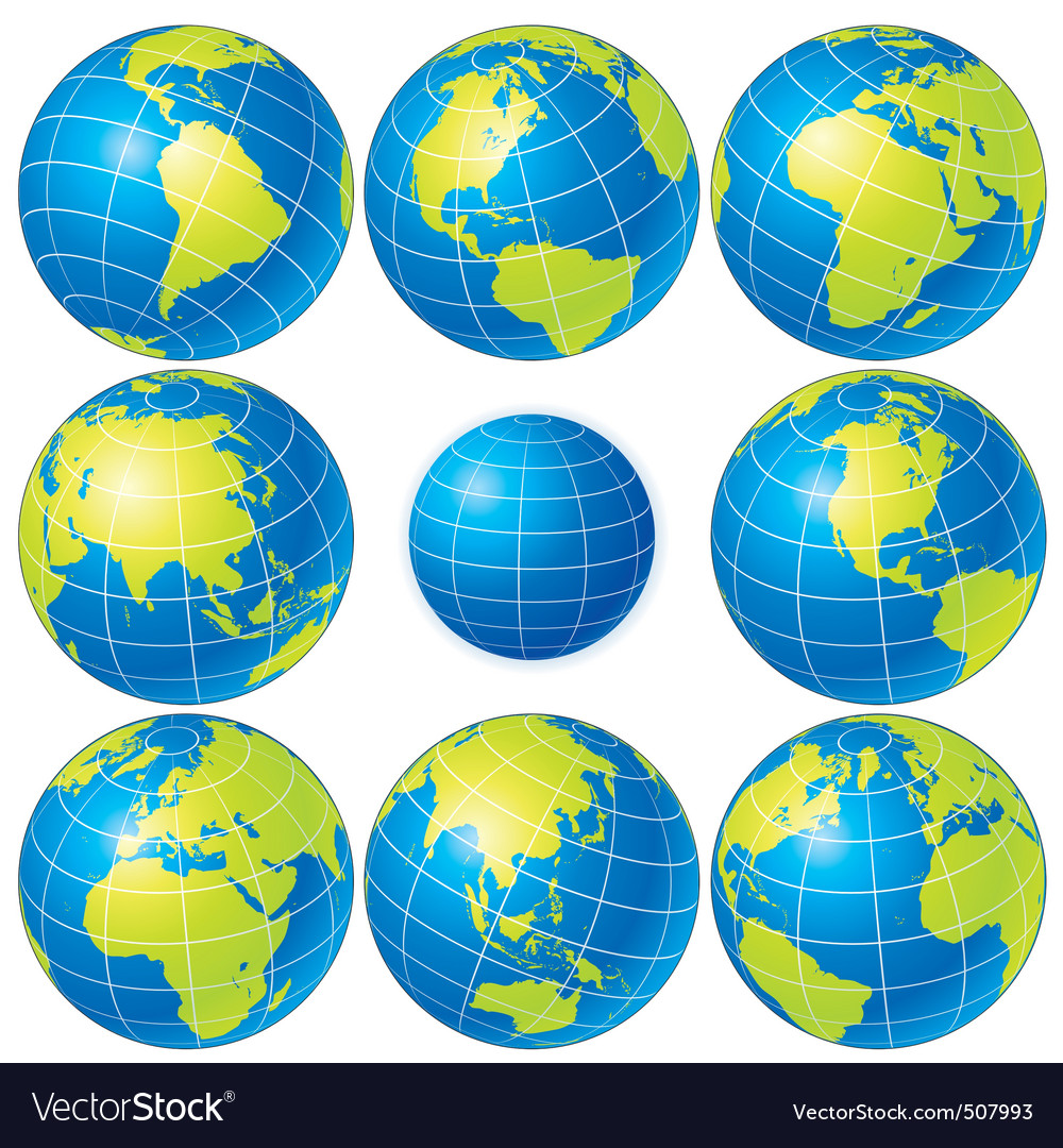 globes set vector | Price:  Credit (USD $)