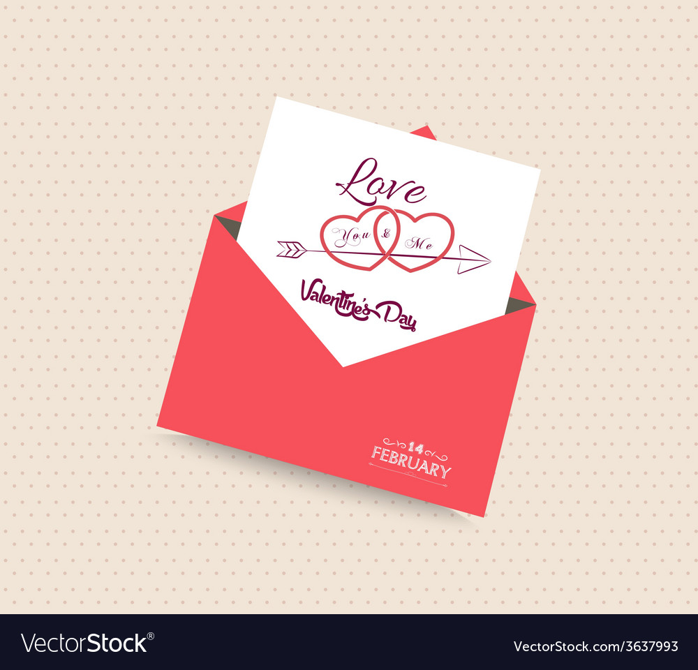 Happy valentines day card with envelope heart vector
