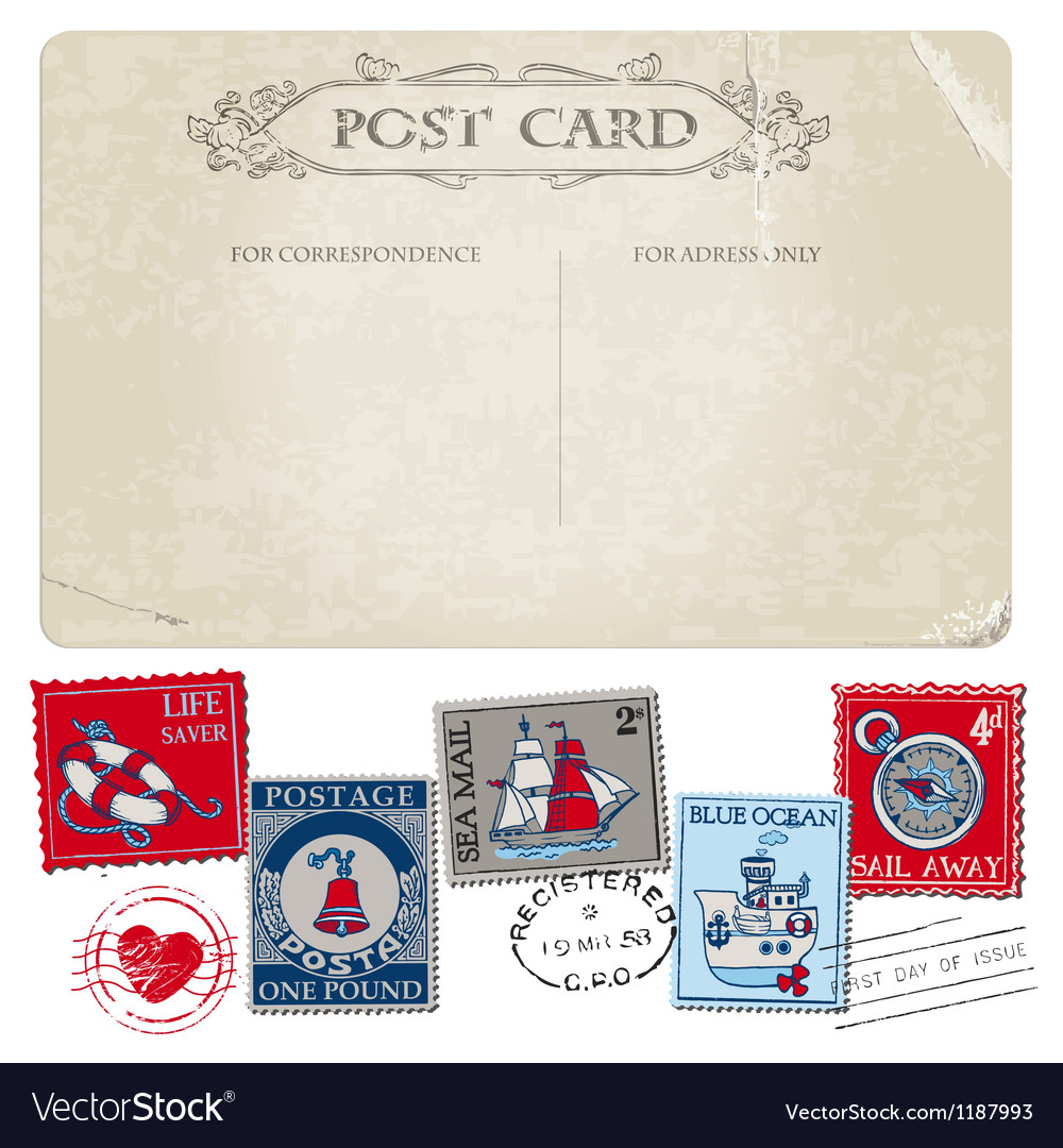 Nautical postcard and postage stamps vector | Price: 3 Credit (USD $3)