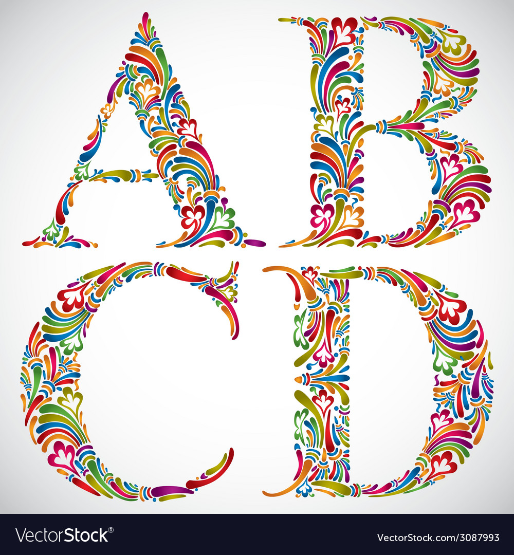Ornate alphabet letters a b c d vector | Price: 1 Credit (USD $1)