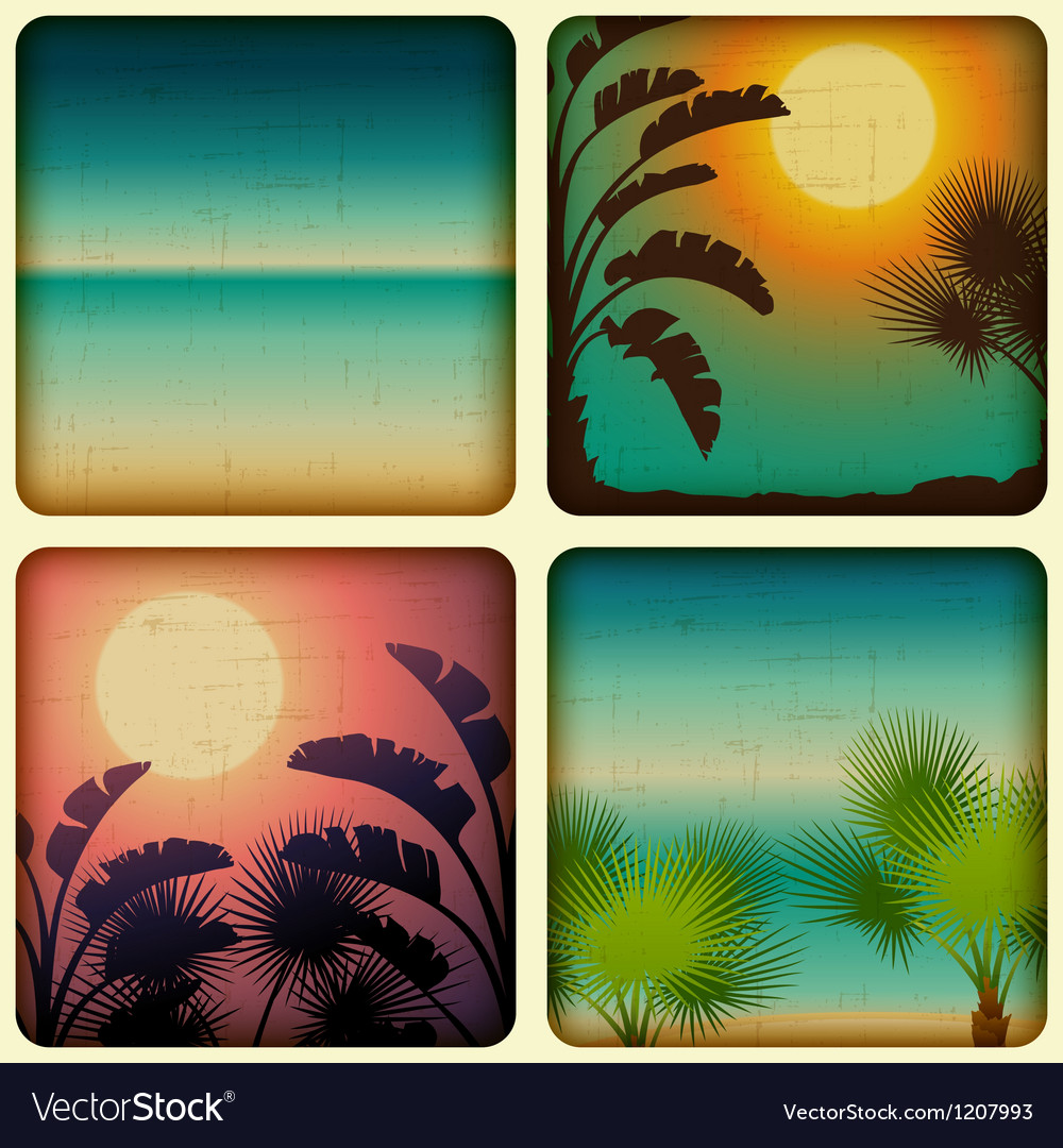 Retro tropical cards with seaside and palm trees vector | Price: 1 Credit (USD $1)