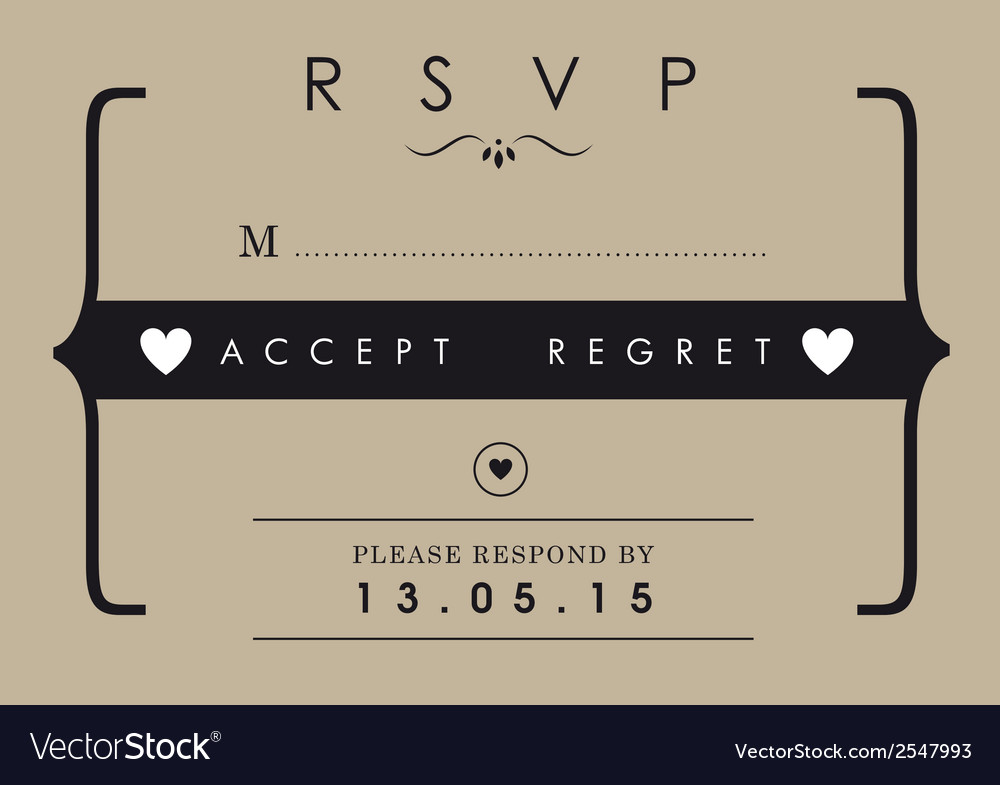 Rsvp wedding card mr and mrs theme vector | Price: 1 Credit (USD $1)
