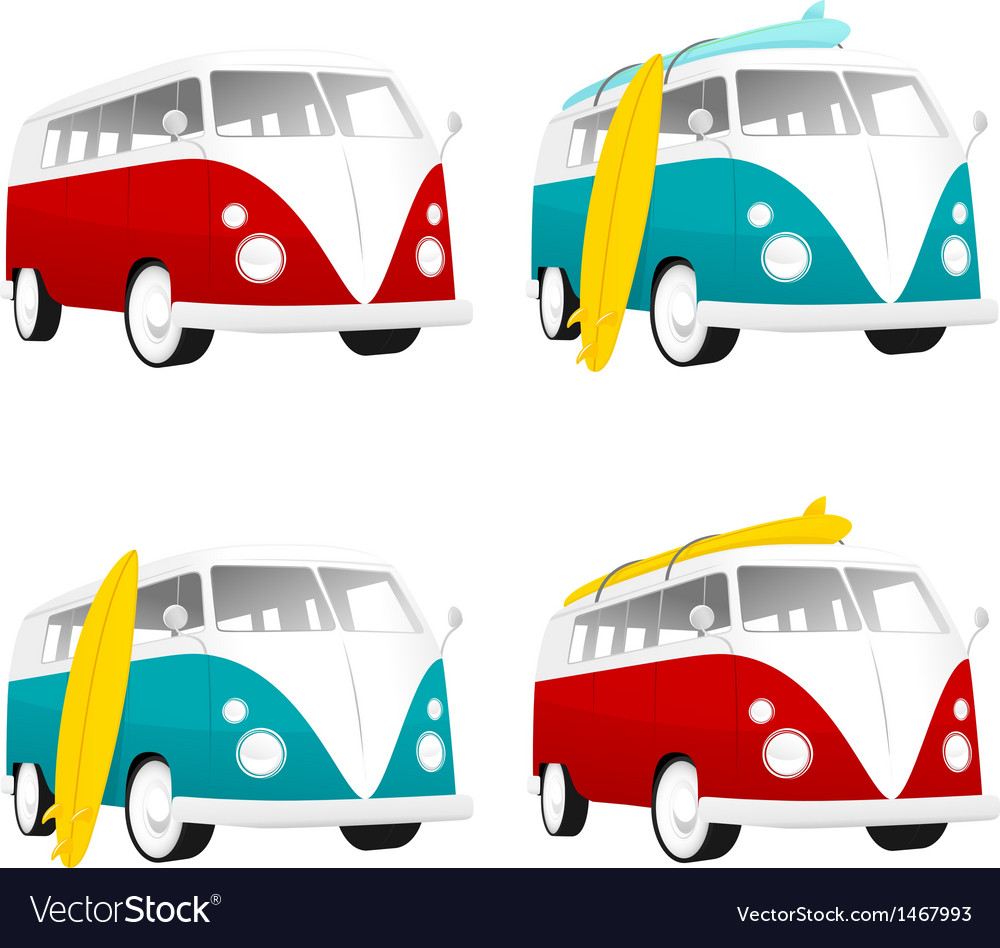 Vintage camper bus van with surfboards vector | Price: 1 Credit (USD $1)